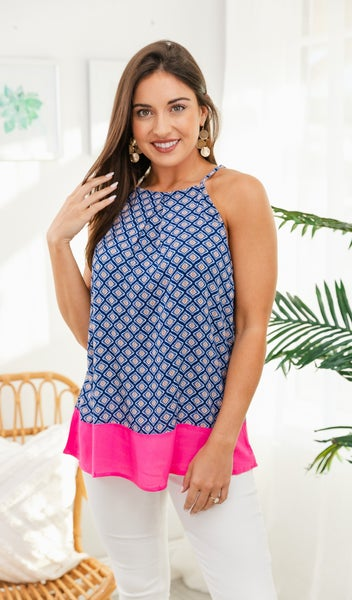 Cool For The Summer Tank, Navy/Pink