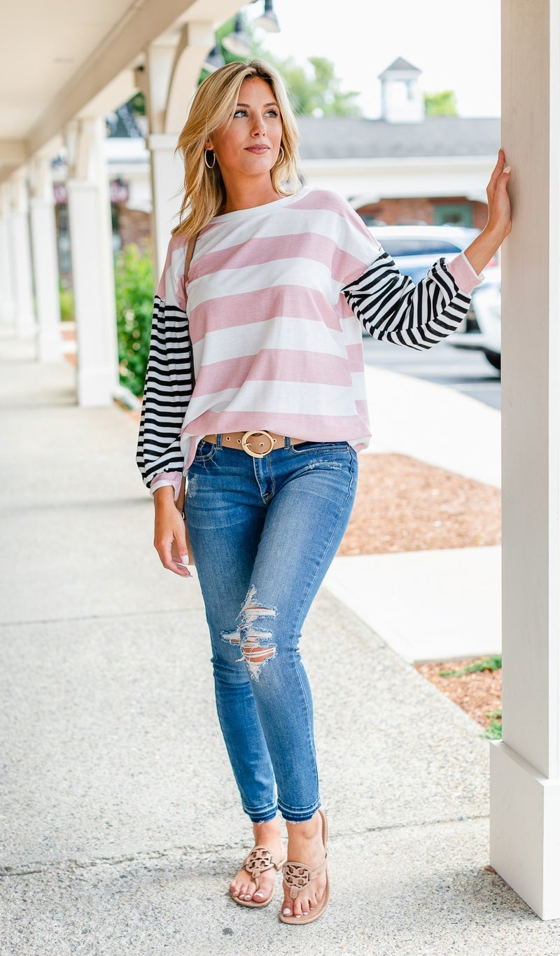 Here To Stay Stripe Long Sleeve, Blue or Pink
