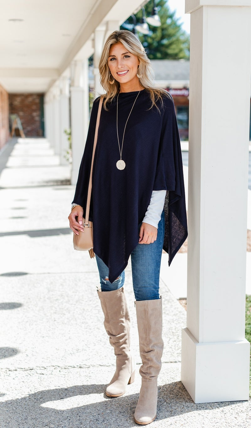 The Stila Poncho/ Sweater, Navy or Chestnut
