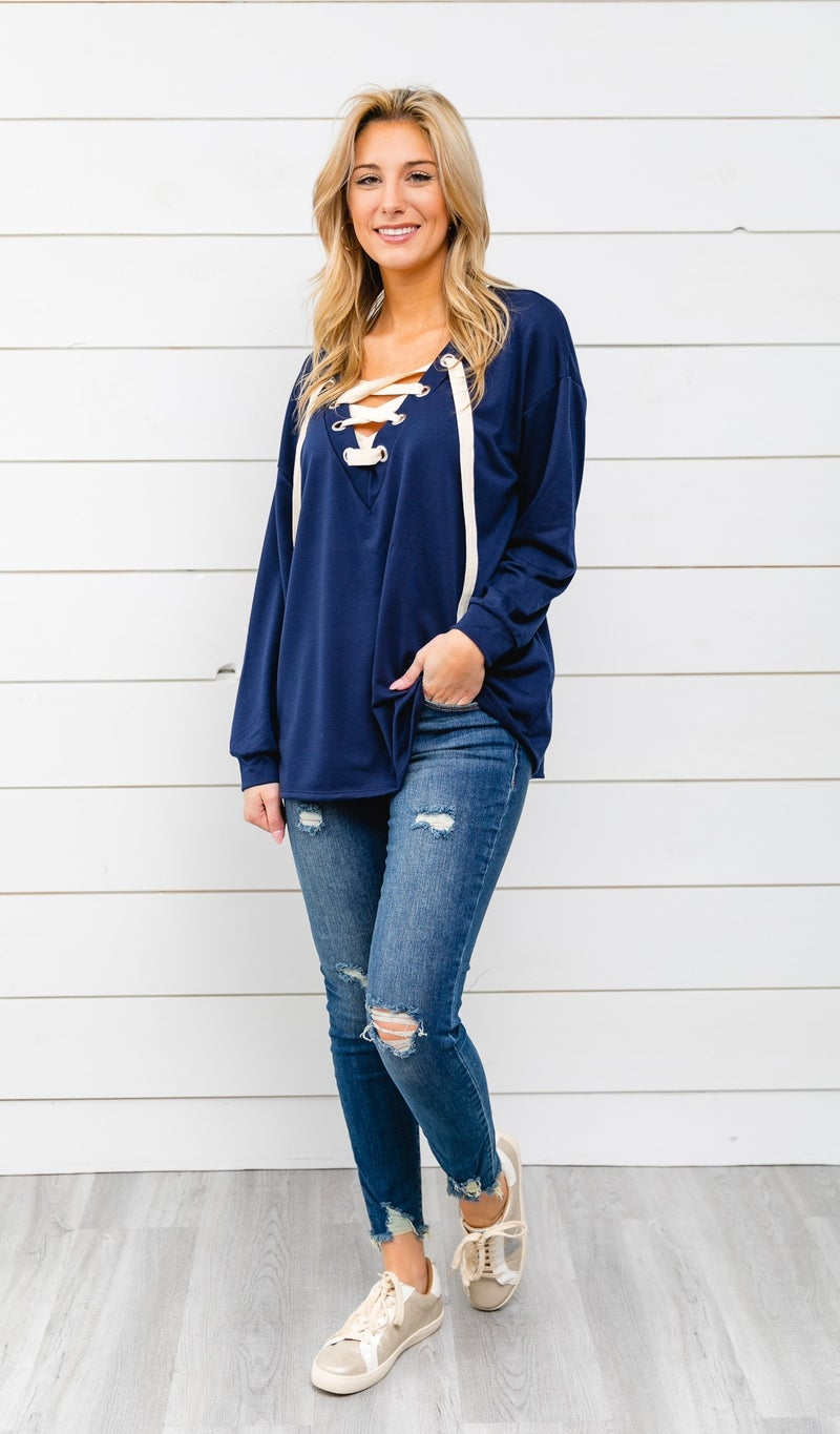 Winter Favorite Lace Up Top, Navy