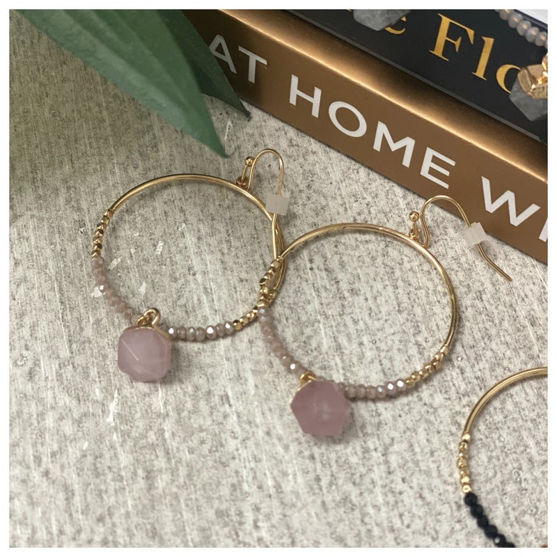 Beads All Around Earring, Black, Blush or Grey