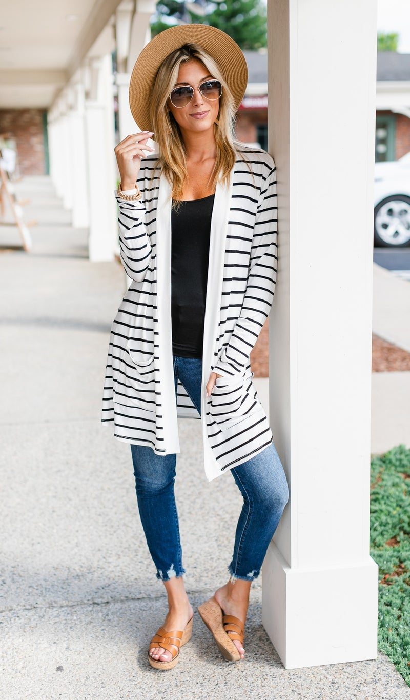 Aylah Striped Cardigan, Black or Ivory