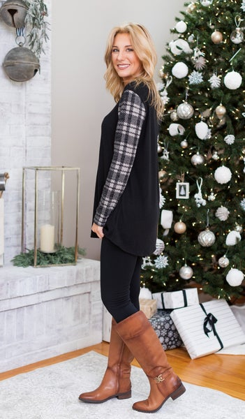Found Love Plaid Top, Black
