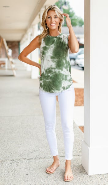 Frankie Sleeveless Top, Olive Tie Dye