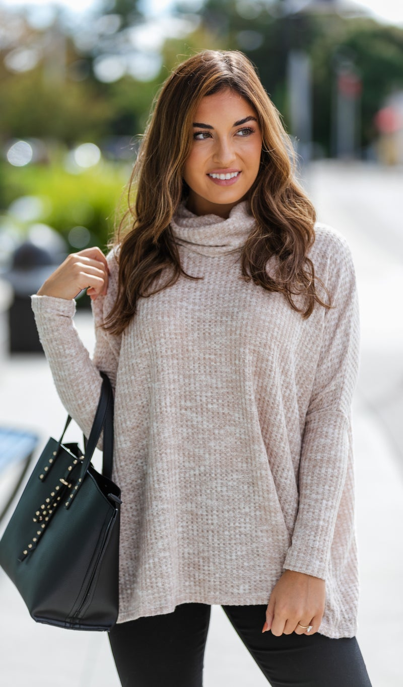 Cozy Love Waffle Tunic, Grey or Taupe