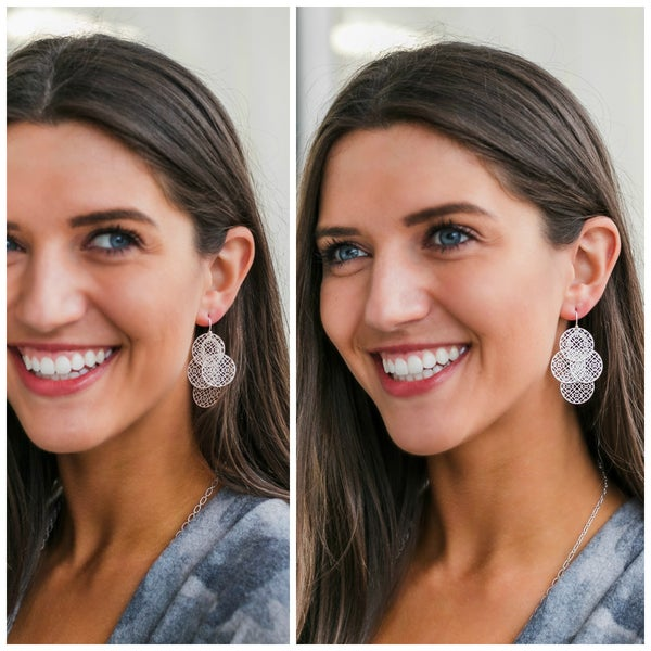 The Lilly Earrings, Matte Silver