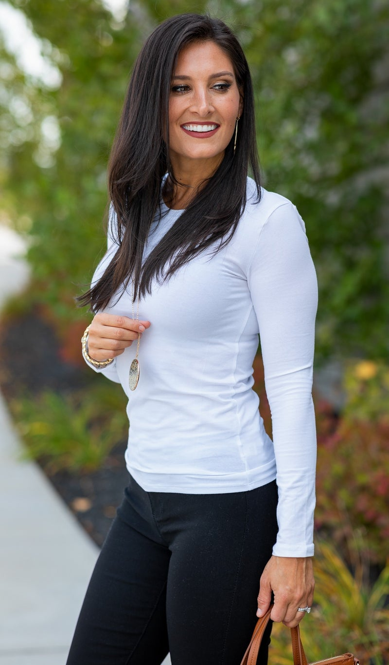 Cotton Long Sleeve Layering Top, Black or White