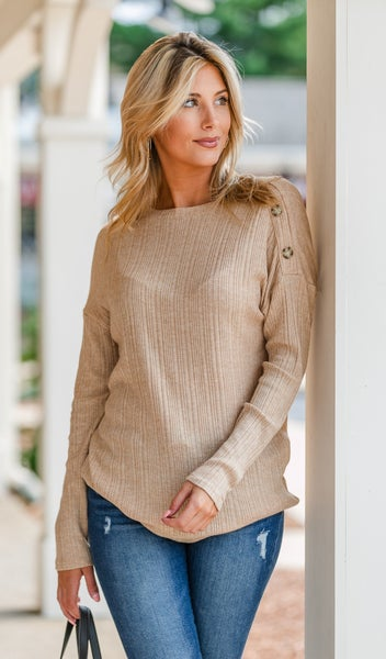 Staying Warm Ribbed Knit Top, Oatmeal