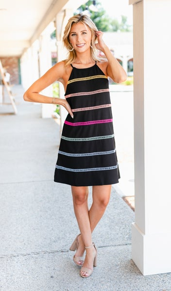 Pure Bliss Dress, Black Colored Stripe