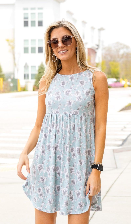 Emelia Print Babydoll Dress, Mint