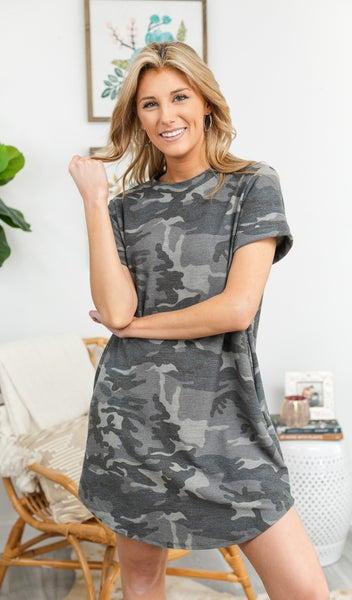 Camo Casual Dress, GREY
