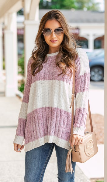 Orchard Ready Cable Knit Sweater, Mauve