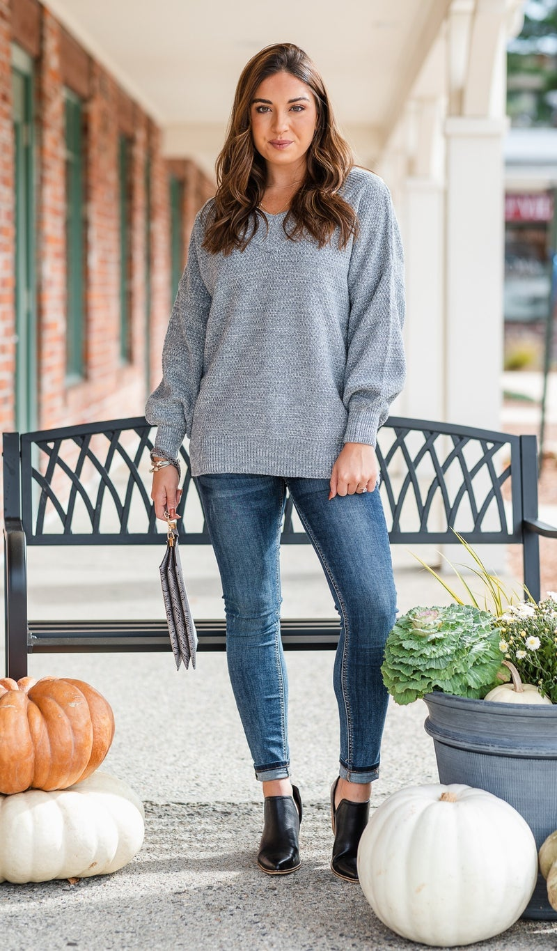 The Heather Sweater, Black or Grey