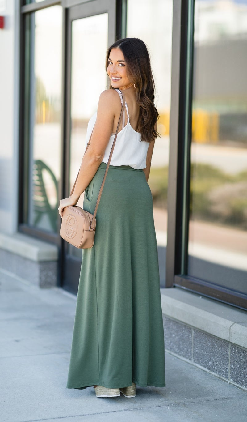 Daisy Maxi Skirt, Light Olive