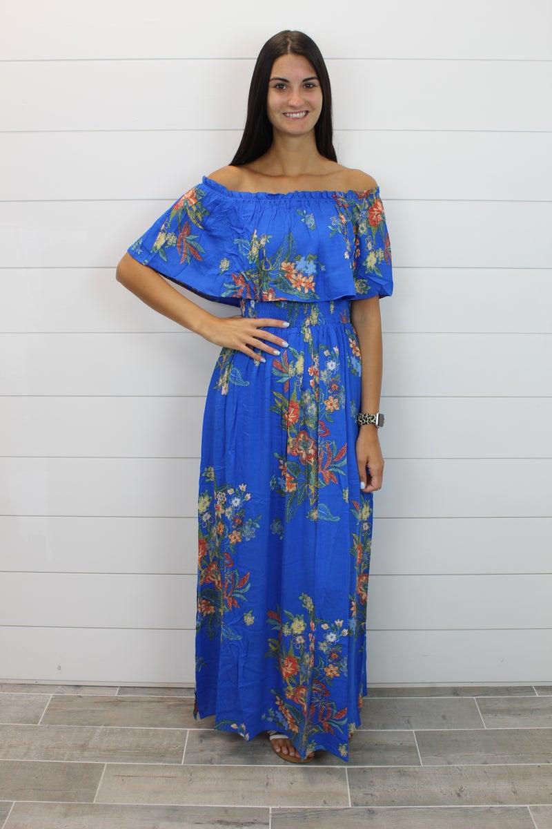 Floral Smocked Waist Off Shoulder Maxi Dress