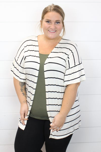 Covered In Stripes Ruffle Sleeve Cardi