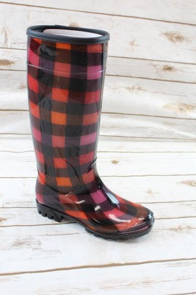 Pretty in Plaid Rain Boots