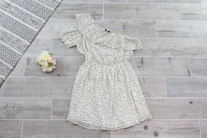 Spotted One Shoulder  Mini Dress