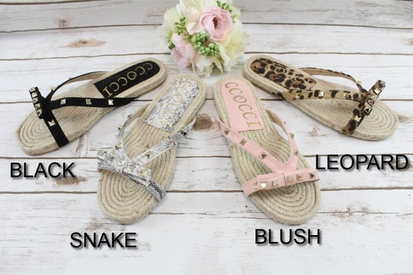 Bedazzled Rope Soled Sandals