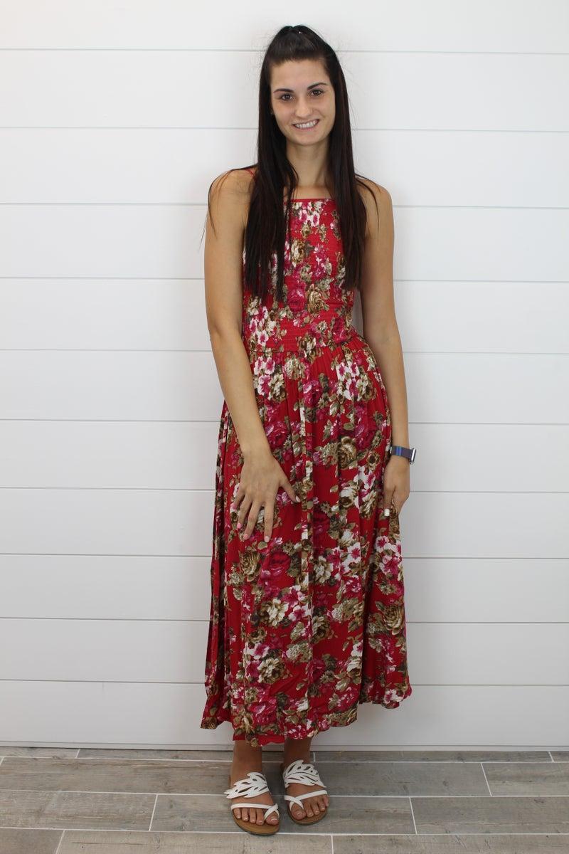 Floral Midi Dress with Smocked Halter Neckline