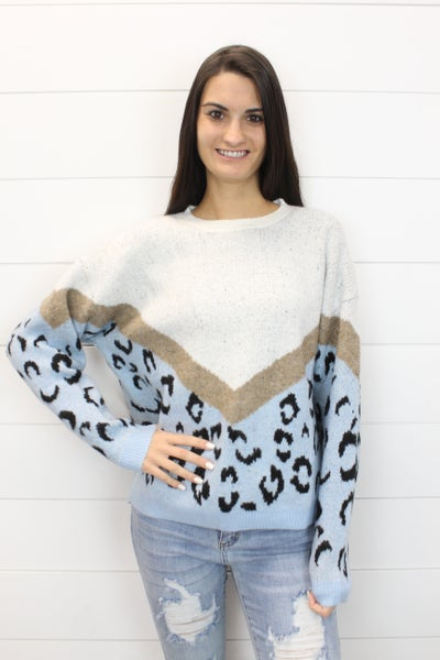 V-Print Leopard Knit Sweater