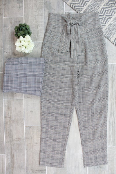 Tie Up Plaid Pants