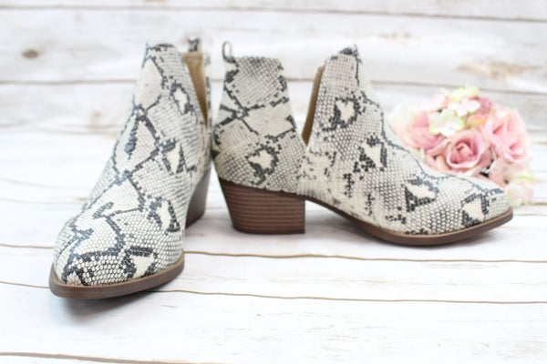 The Perfect Snake Print Booties