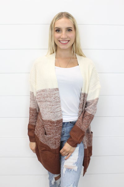 Ombre Open Front Cardi