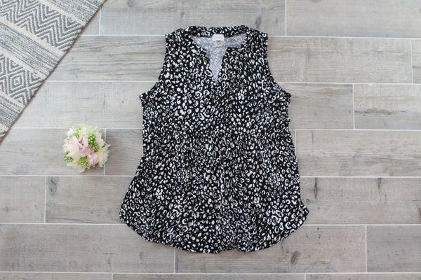 Leopard Babydoll Sleeveless Top