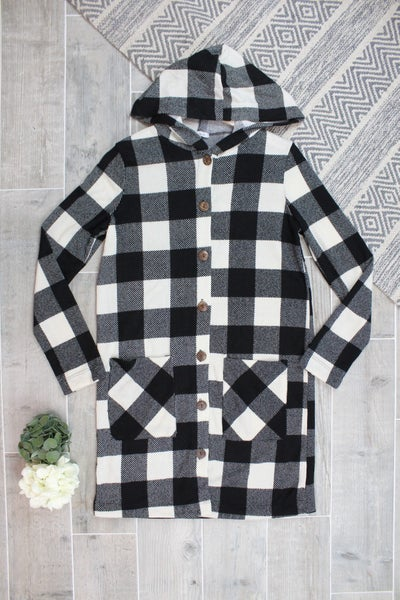 Long Plaid Button Up Cardigan
