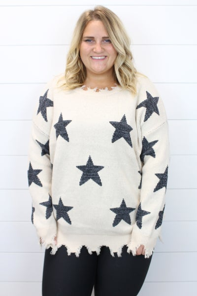 Raw Hem Star Sweater