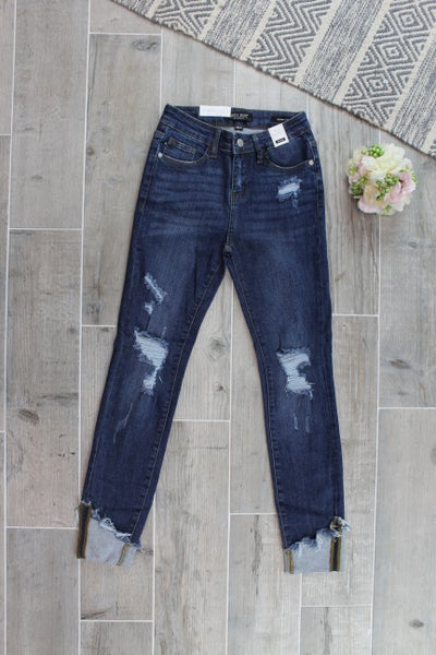 Asymmetrical Cuffed Destroy Skinny Jean