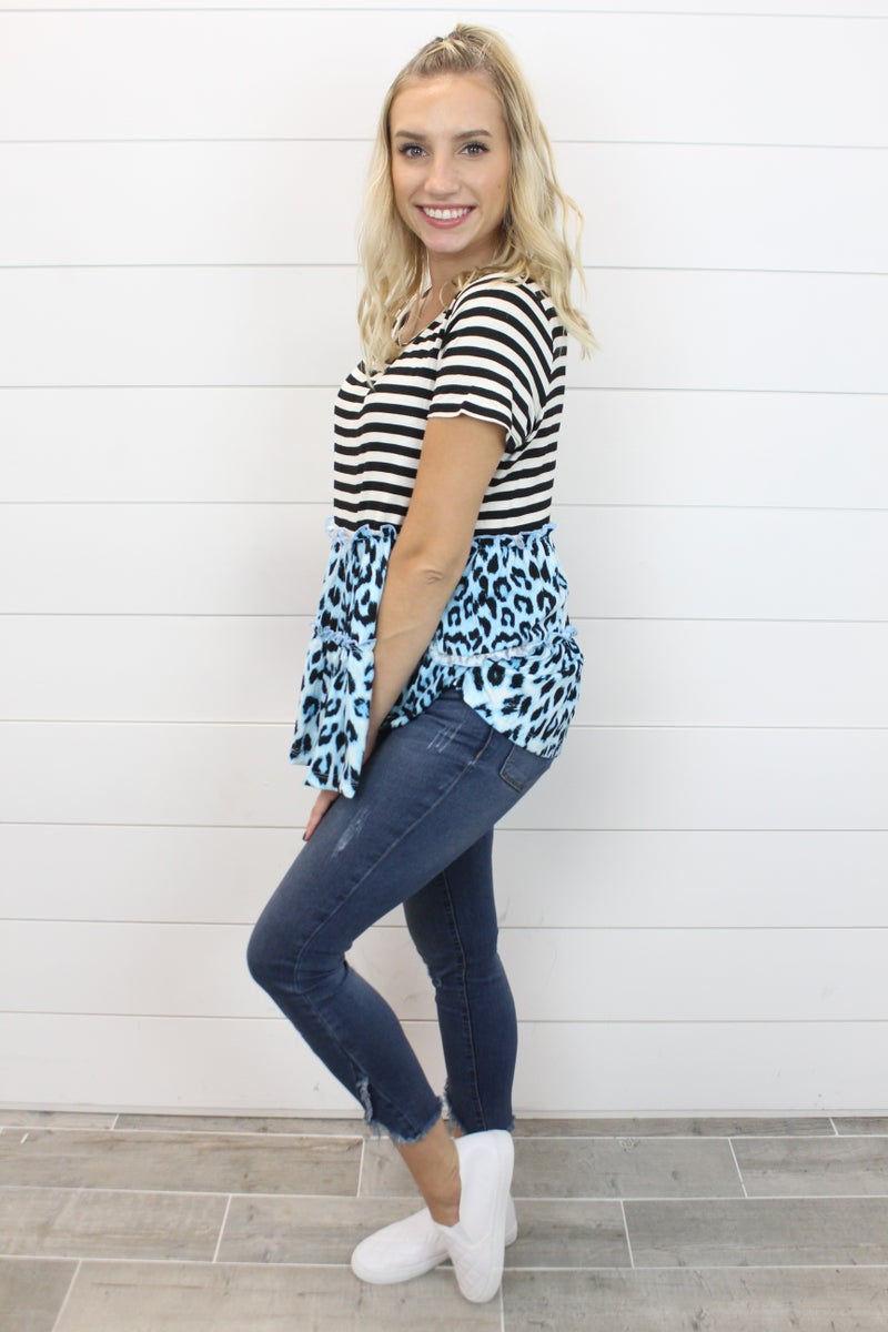 Leopard Striped Tiered Top