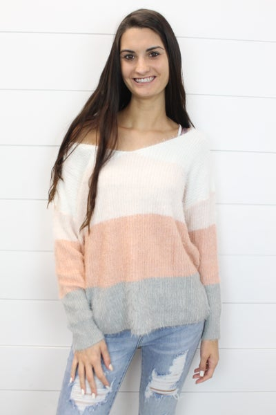 Puffy Sleeve Color Block Sweater