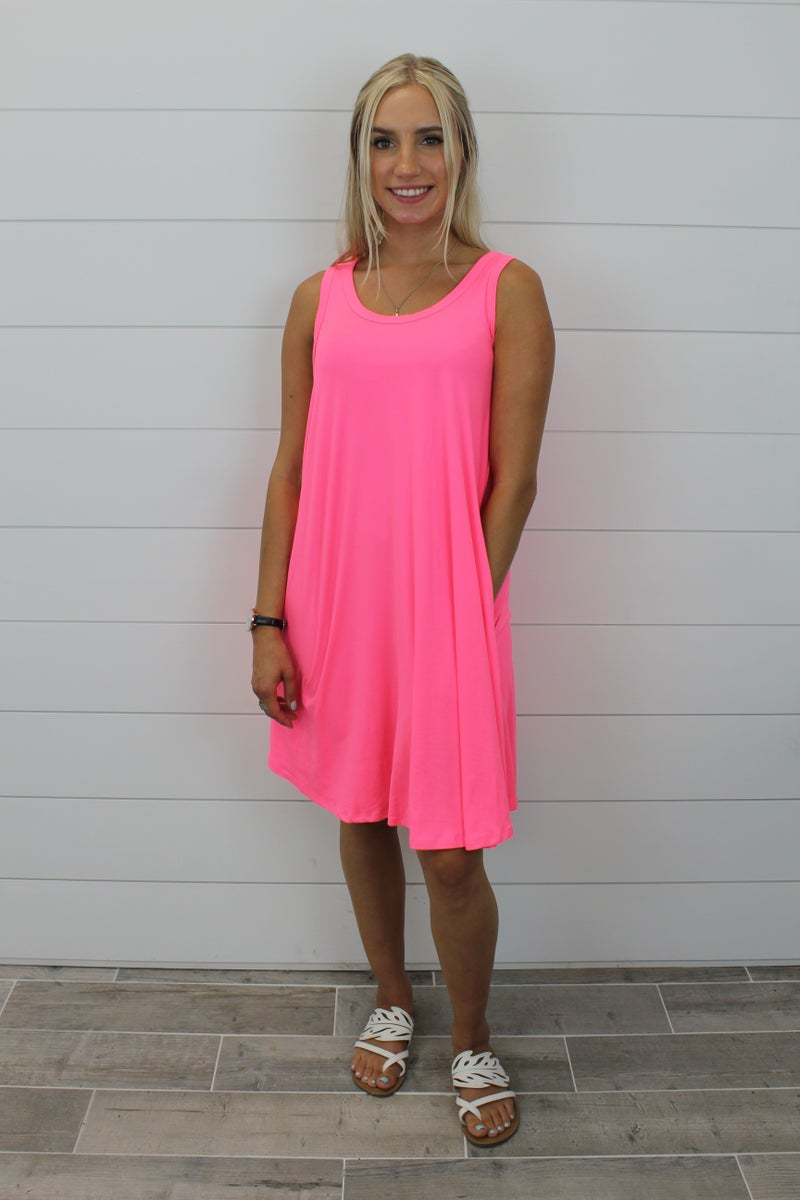 Bright AF Sleeveless Swing Dress