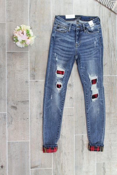 Plaid Patch Destroyed Skinny Judy Blue Jeans