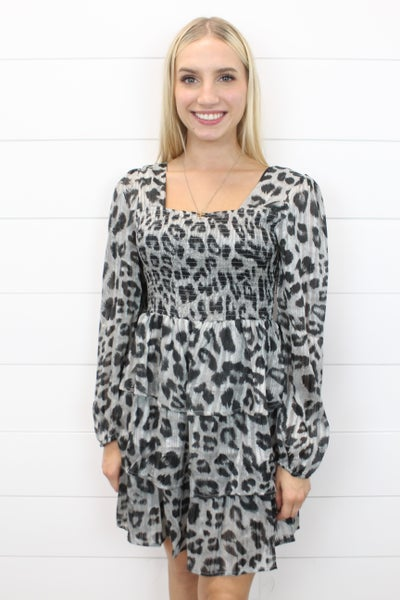 Tiered Leopard Dress