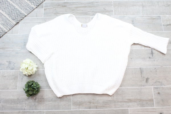 Drop Shoulder Cable Knit POL Sweater