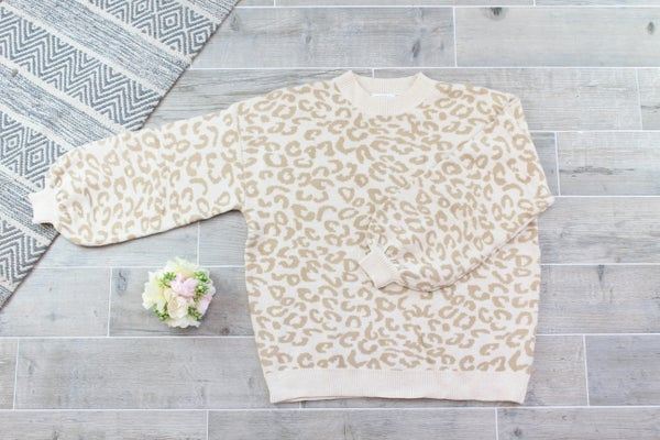 Balloon Sleeve Leopard Sweater