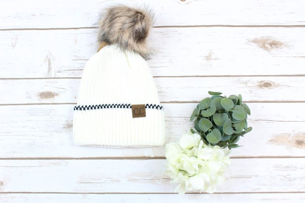 Solid Pom Beanie With Black Stich