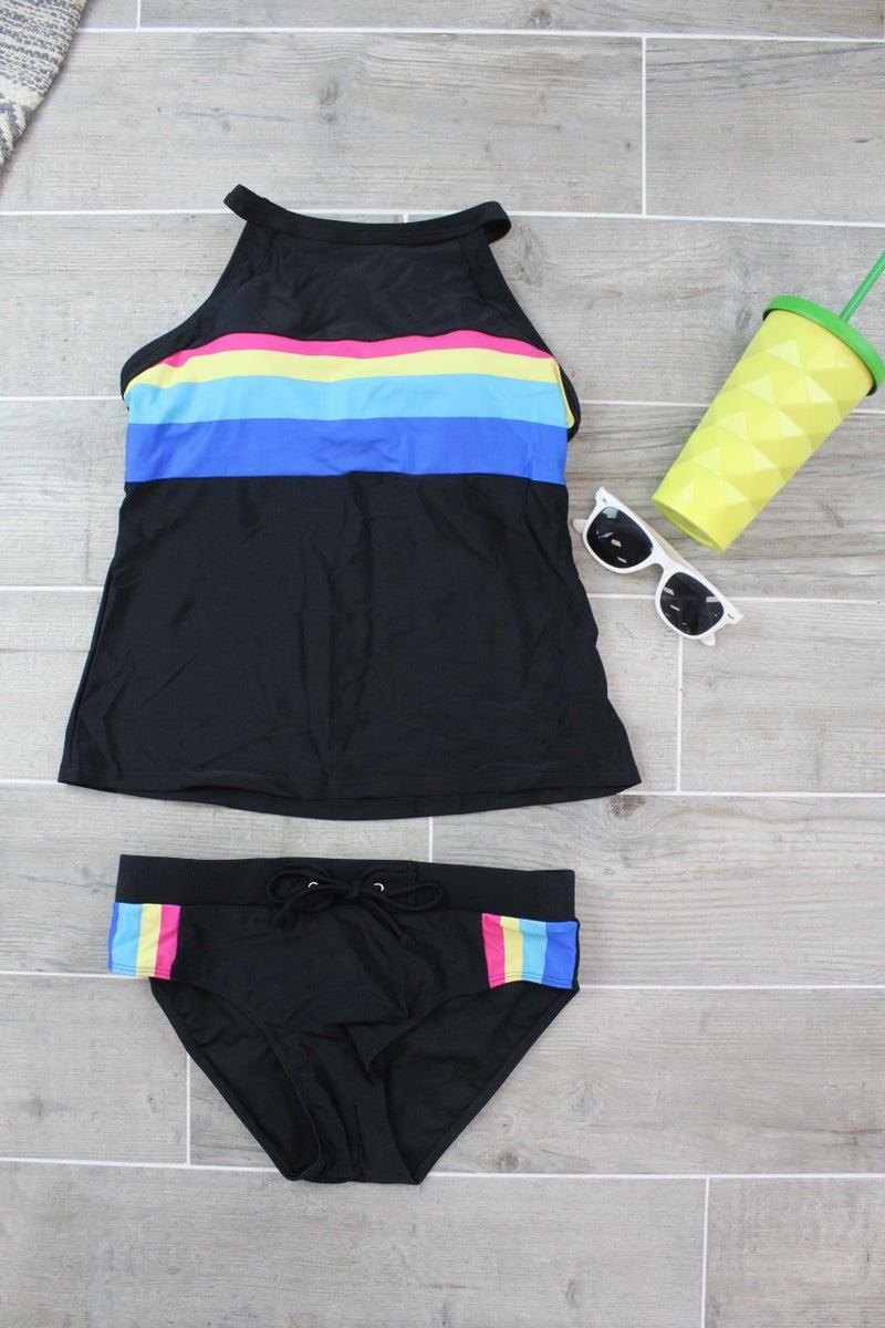 Multicolored Stripe Tankini