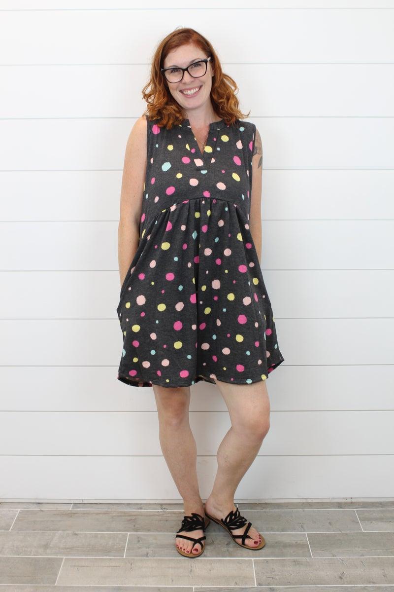 Colorful Sleeveless  Polka Dot Dress