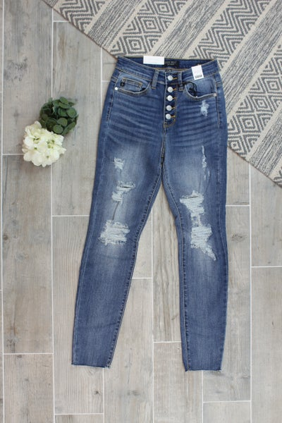 Judy Blue Five Button Distressed Skinny Jeans