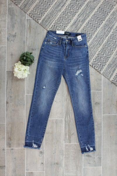 Judy Blue Destroyed High Waist Release Hem Jeans