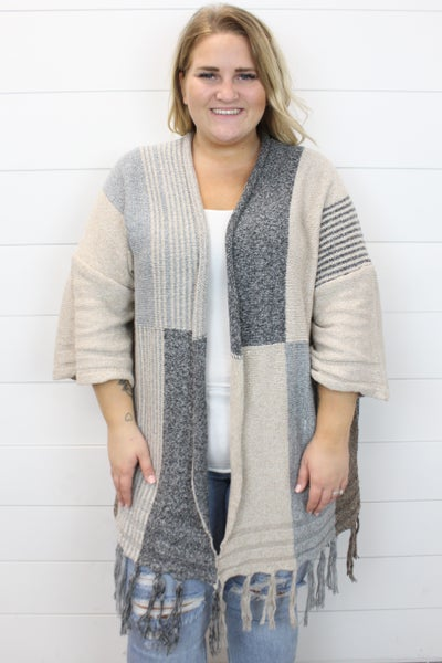 Color Block Tassle Cardigan
