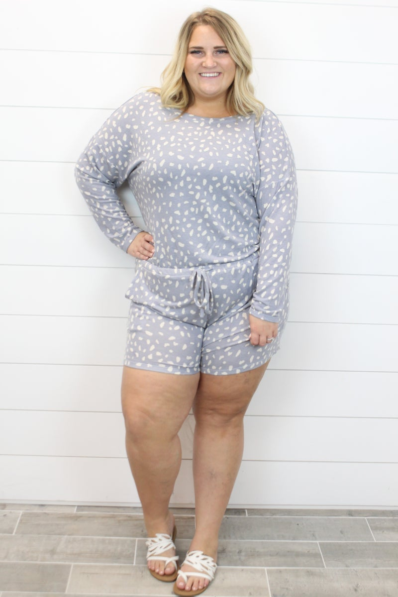 Spotted Long Sleeve Romper