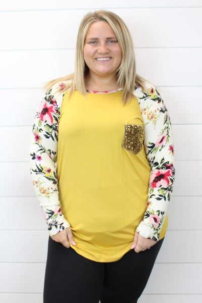 Floral Long Sleeve Top with Sequin Patch Pocket