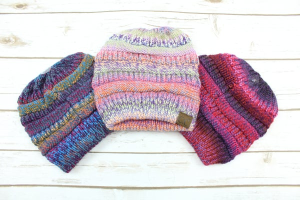 Multi Color Messy Bun Beanies