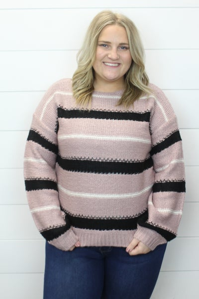 Lovely Lavender And Stripes Sweater