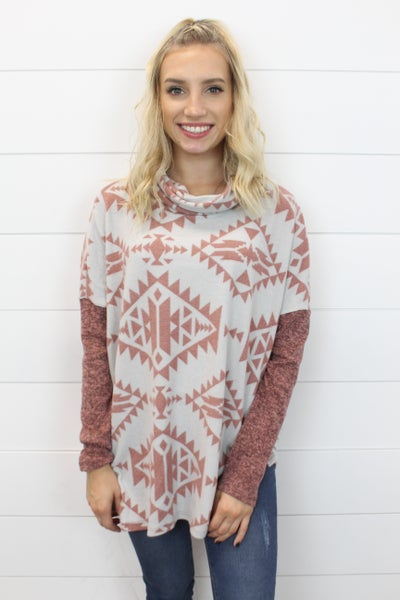 Aztec Turtleneck Top